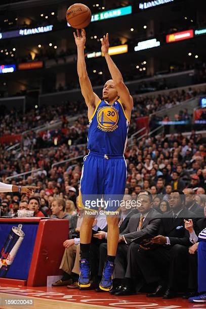 Stephen Curry of the Golden State Warriors goes for a jump shot during the game between the Los Angeles Clippers and the Golden State Warriors at...