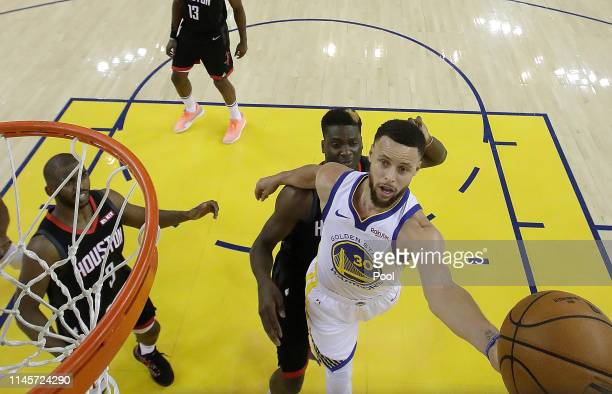 Stephen Curry of the Golden State Warriors goes in for a layup against the Houston Rockets during Game One of the Second Round of the 2019 NBA...