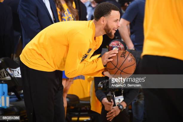 Stephen Curry of the Golden State Warriors goes through his pregame ritual before Game Two the Western Conference Semifinals against the Utah Jazz...