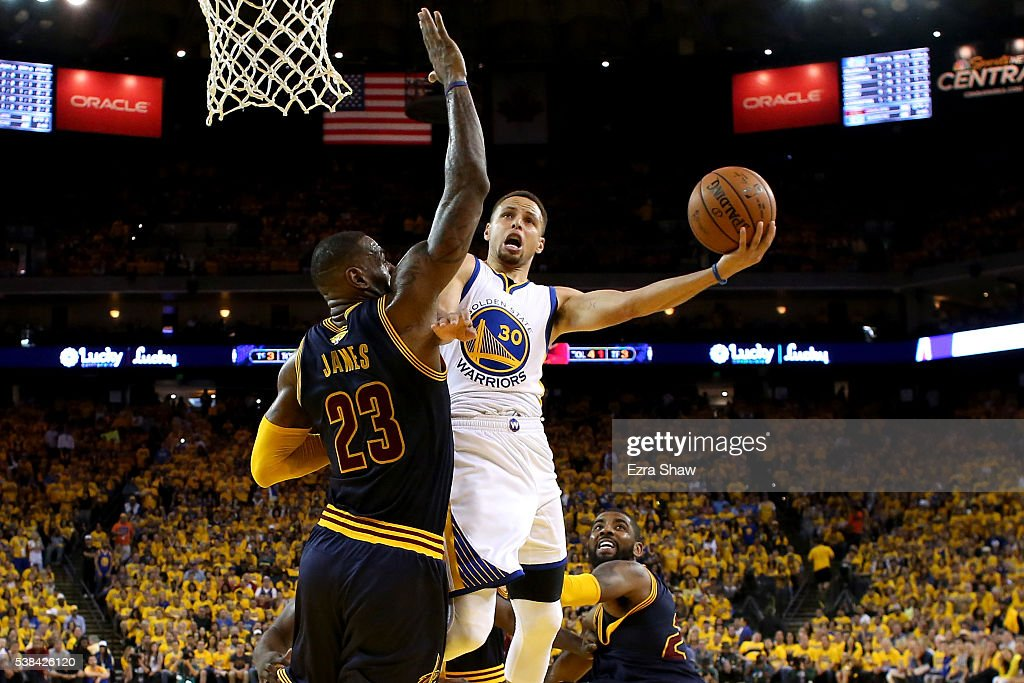 Stephen Curry #30 of the Golden State Warriors goes up for a shot against LeBron James #23 of the Cleveland Cavaliers in the first half in Game 2 of the 2016 NBA Finals at ORACLE Arena on June 5, 2016 in Oakland, California.