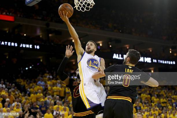 Stephen Curry of the Golden State Warriors goes up for a shot against the Cleveland Cavaliers in Game 2 of the 2017 NBA Finals at ORACLE Arena on...