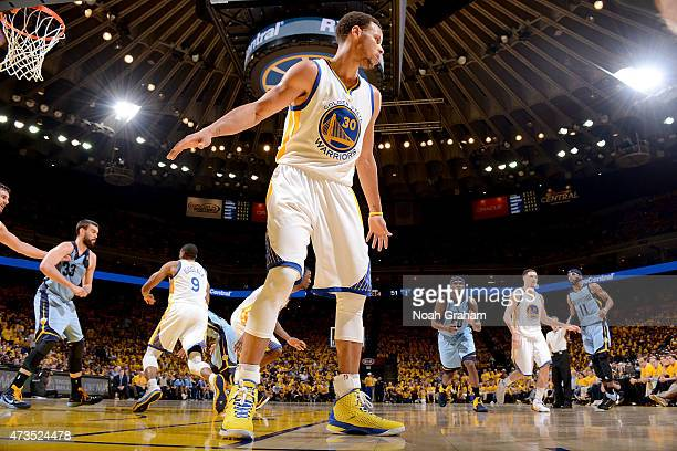 Stephen Curry of the Golden State Warriors guards his position against the Memphis Grizzlies in Game Five of the Western Conference Semifinals of the...