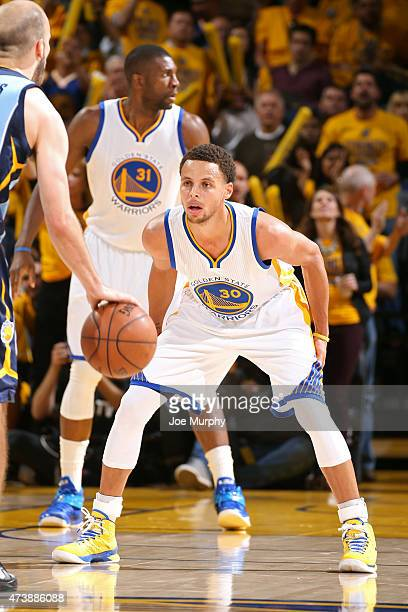 Stephen Curry of the Golden State Warriors guards his position against the Memphis Grizzlies in Game Five of the Western Conference Semifinals during...