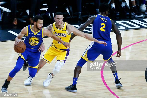 Stephen Curry of the Golden State Warriors handles the ball against the Los Angeles Lakers on October 10 2018 at TMobile Arena in Las Vegas Nevada...