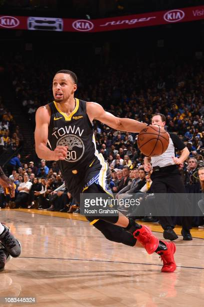 Stephen Curry of the Golden State Warriors handles the ball against the New Orleans Pelicans on January 16 2019 at ORACLE Arena in Oakland California...