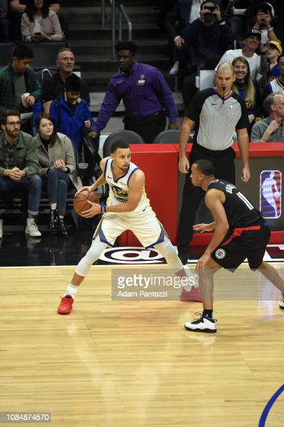 Stephen Curry of the Golden State Warriors handles the ball against the LA Clippers on January 18 2019 at STAPLES Center in Los Angeles California...