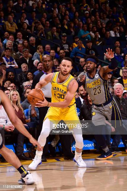 Stephen Curry of the Golden State Warriors handles the ball against the Indiana Pacers on March 21 2019 at ORACLE Arena in Oakland California NOTE TO...