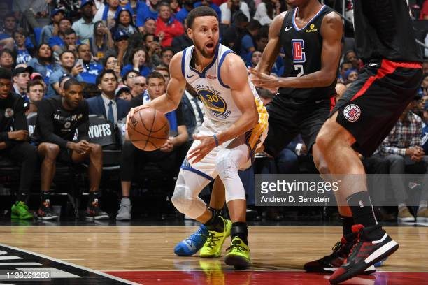 Stephen Curry of the Golden State Warriors handles the ball against the LA Clippers in Game Three of Round One of the 2019 NBA Playoffs on April 18...