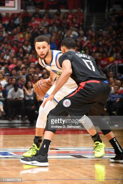 Stephen Curry of the Golden State Warriors handles the ball against the LA Clippers during Game Six of Round One of the 2019 NBA Playoffs on April 26...