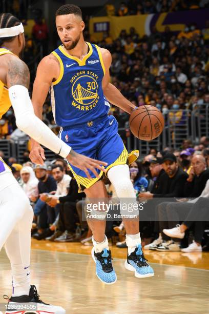 Stephen Curry of the Golden State Warriors handles the ball against the Los Angeles Lakers on October 19, 2021 at STAPLES Center in Los Angeles,...