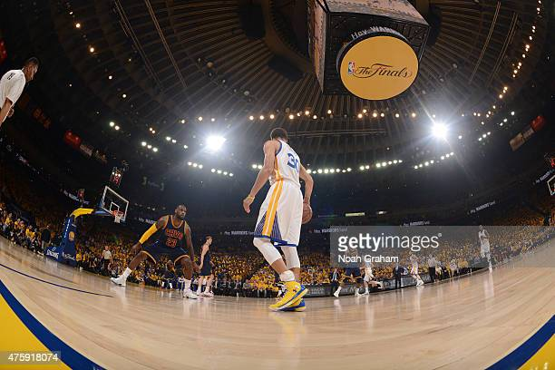 Stephen Curry of the Golden State Warriors handles the ball against LeBron James of the Cleveland Cavaliers in Game One of the 2015 NBA Finals on...