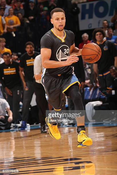 Stephen Curry of the Golden State Warriors handles the ball against the Oklahoma City Thunder on February 27 2016 at the Chesapeake Energy Arena in...