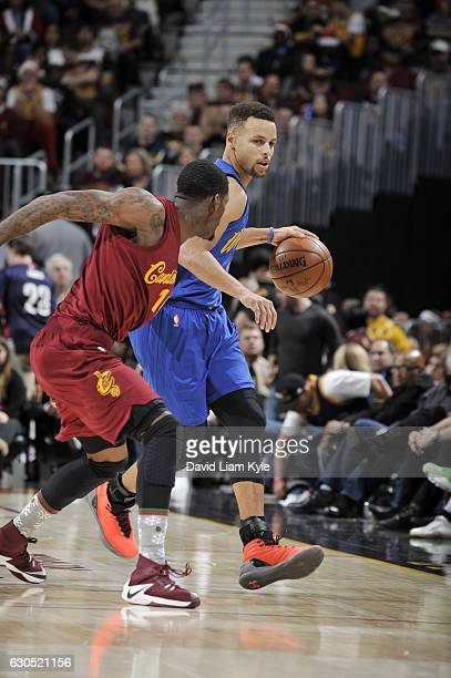 Stephen Curry of the Golden State Warriors handles the ball against the Cleveland Cavaliers during the game on December 25 2016 at Quicken Loans...