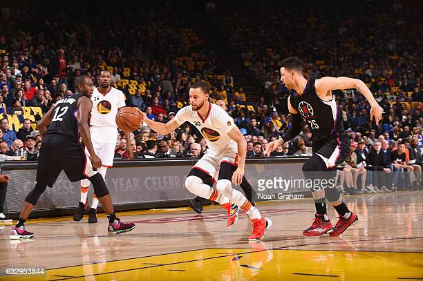Stephen Curry of the Golden State Warriors handles the ball against the LA Clippers during the game on January 28 2017 at ORACLE Arena in Oakland...