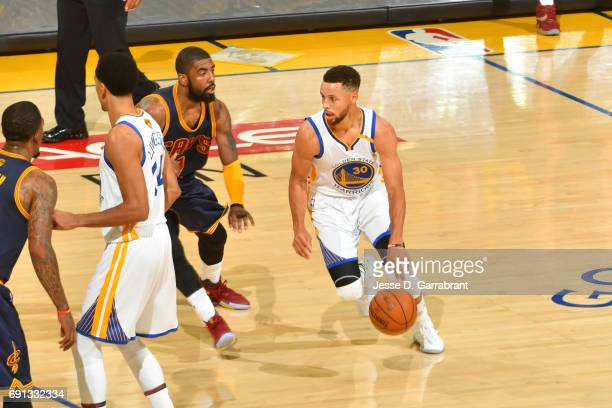 Stephen Curry of the Golden State Warriors handles the ball against the Cleveland Cavaliers in Game One of the 2017 NBA Finals on June 1 2017 at...