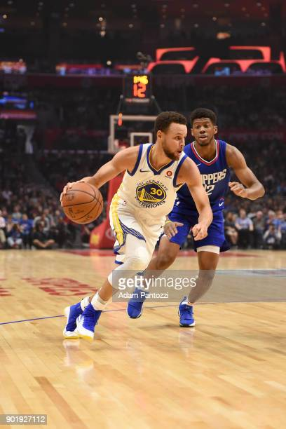 Stephen Curry of the Golden State Warriors handles the ball against the LA Clippers on January 6 2018 at STAPLES Center in Los Angeles California...