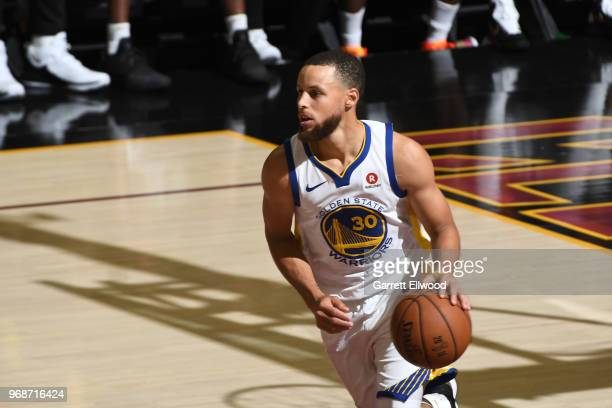 Stephen Curry of the Golden State Warriors handles the ball against the Cleveland Cavaliers during Game Three of the 2018 NBA Finals on June 6 2018...