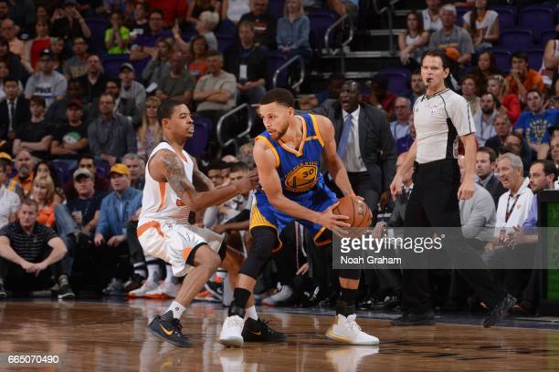 Stephen Curry of the Golden State Warriors handles the ball during a game against the Phoenix Suns on April 5 2017 at Talking Stick Resort Arena in...