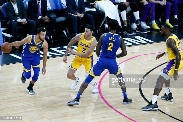 Stephen Curry of the Golden State Warriors handles the ball during the game against the Los Angeles Lakers on October 10 2018 at TMobile Arena in Las...