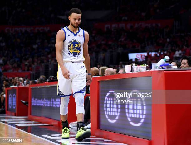 Stephen Curry of the Golden State Warriors heads to the bench after his third foul against the LA Clippers during Game Two of Round One of the 2019...
