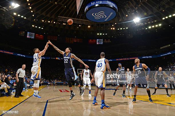 Stephen Curry of the Golden State Warriors hits his 400th three point basket of the season during the game against the Memphis Grizzlies on April 13...