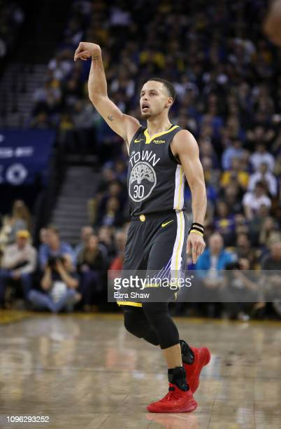 Stephen Curry of the Golden State Warriors in action against the New Orleans Pelicans at ORACLE Arena on January 16 2019 in Oakland California NOTE...