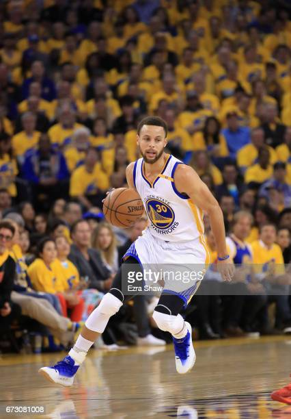 Stephen Curry of the Golden State Warriors in action against the Portland Trail Blazers during Game Two of the Western Conference Quarterfinals...
