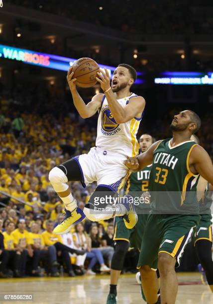Stephen Curry of the Golden State Warriors in action against the Utah Jazz during Game One of the Western Conference Semifinals of the 2017 NBA...