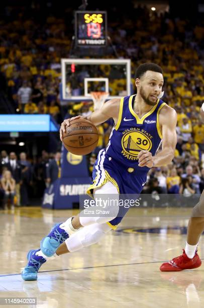 Stephen Curry of the Golden State Warriors in action during their game against the LA Clippers during Game Five of the first round of the 2019 NBA...