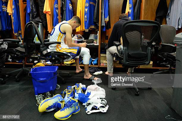 Stephen Curry of the Golden State Warriors in the locker room before the game against the Portland Trail Blazers in Game Five of the Western...