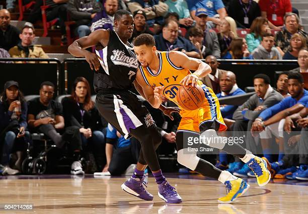 Stephen Curry of the Golden State Warriors is guarded by Darren Collison of the Sacramento Kings at Sleep Train Arena on January 9 2016 in Sacramento...