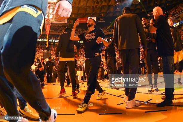 Stephen Curry of the Golden State Warriors is introduced before Game Two of Round One against the LA Clippers during the 2019 NBA Playoffs on April...
