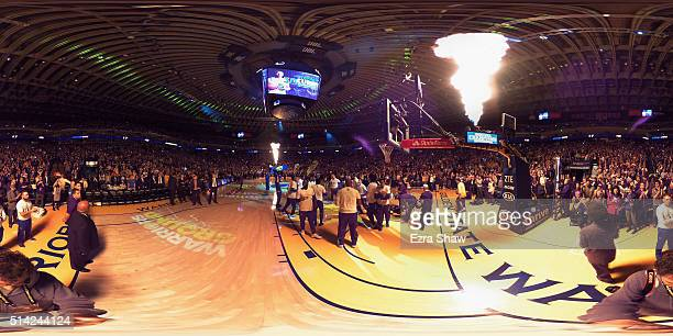 Stephen Curry of the Golden State Warriors is introduced before their game against the Orlando Magic at ORACLE Arena on March 7 2016 in Oakland...