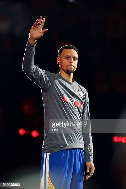 Stephen Curry of the Golden State Warriors is introduced for the Foot Locker ThreePoint Contest during NBA AllStar Weekend 2016 at Air Canada Centre...
