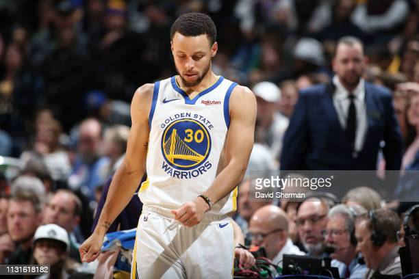 Stephen Curry of the Golden State Warriors is seen on the court against the Minnesota Timberwolves on March 19 2019 at Target Center in Minneapolis...