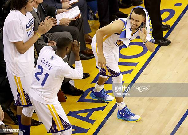 Stephen Curry of the Golden State Warriors jokingly poses for a photo taken by Ian Clark in the second half of Game 1 of the 2016 NBA Finals at...