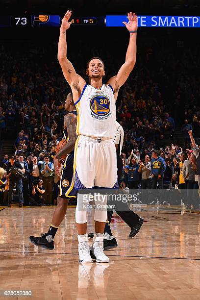Stephen Curry of the Golden State Warriors jumps and gets the crowd into the game against the Indiana Pacers on December 5 2016 at ORACLE Arena in...