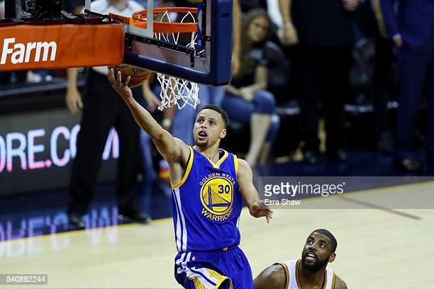 Stephen Curry of the Golden State Warriors lays the ball up against the Cleveland Cavaliers in Game 6 of the 2016 NBA Finals at Quicken Loans Arena...