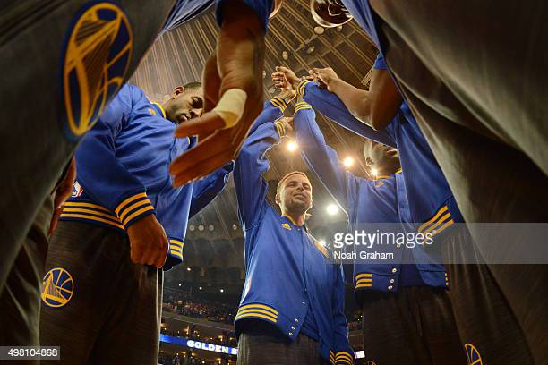 Stephen Curry of the Golden State Warriors leads the huddle prior to the game against the Chicago Bulls on November 20 2015 at Oracle Arena in...