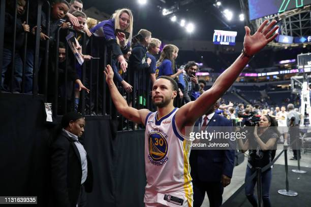 Stephen Curry of the Golden State Warriors leaves the court after the game against the Minnesota Timberwolves on March 19 2019 at Target Center in...