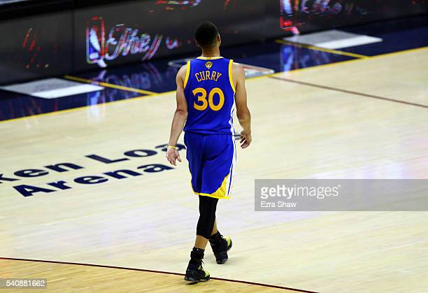 Stephen Curry of the Golden State Warriors leaves the court against the Cleveland Cavaliers in Game 6 of the 2016 NBA Finals at Quicken Loans Arena...