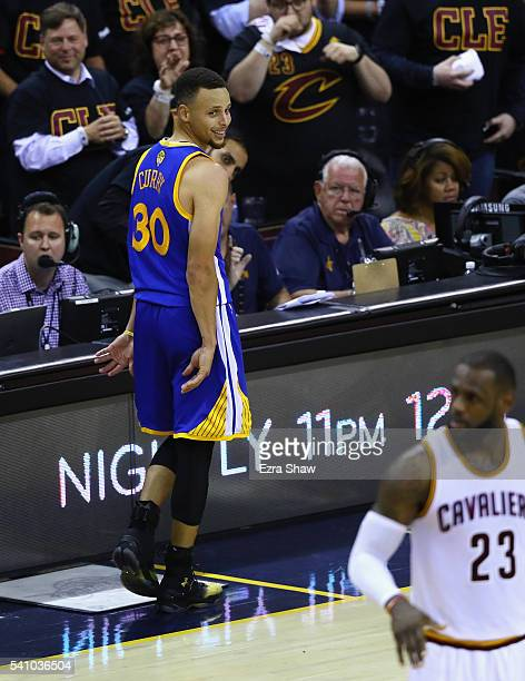 Stephen Curry of the Golden State Warriors looks at LeBron James of the Cleveland Cavaliers during the second half in Game 6 of the 2016 NBA Finals...