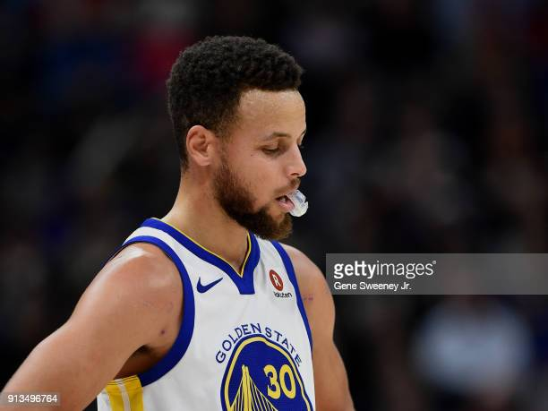 Stephen Curry of the Golden State Warriors looks down during a game against the Utah Jazz at Vivint Smart Home Arena on January 30 2018 in Salt Lake...