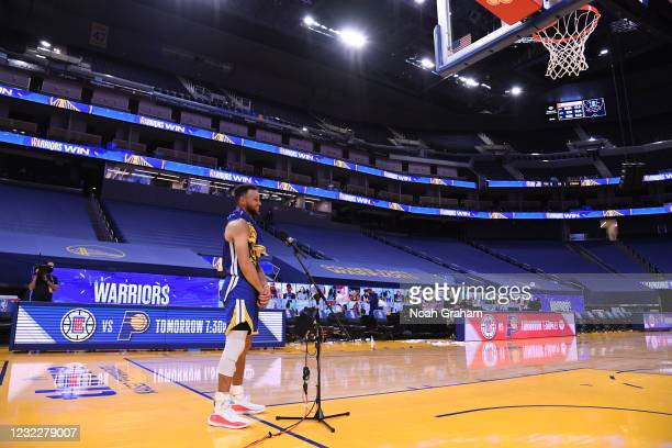 Stephen Curry of the Golden State Warriors looks on after the game against the Denver Nuggets on April 12, 2021 at Chase Center in San Francisco,...