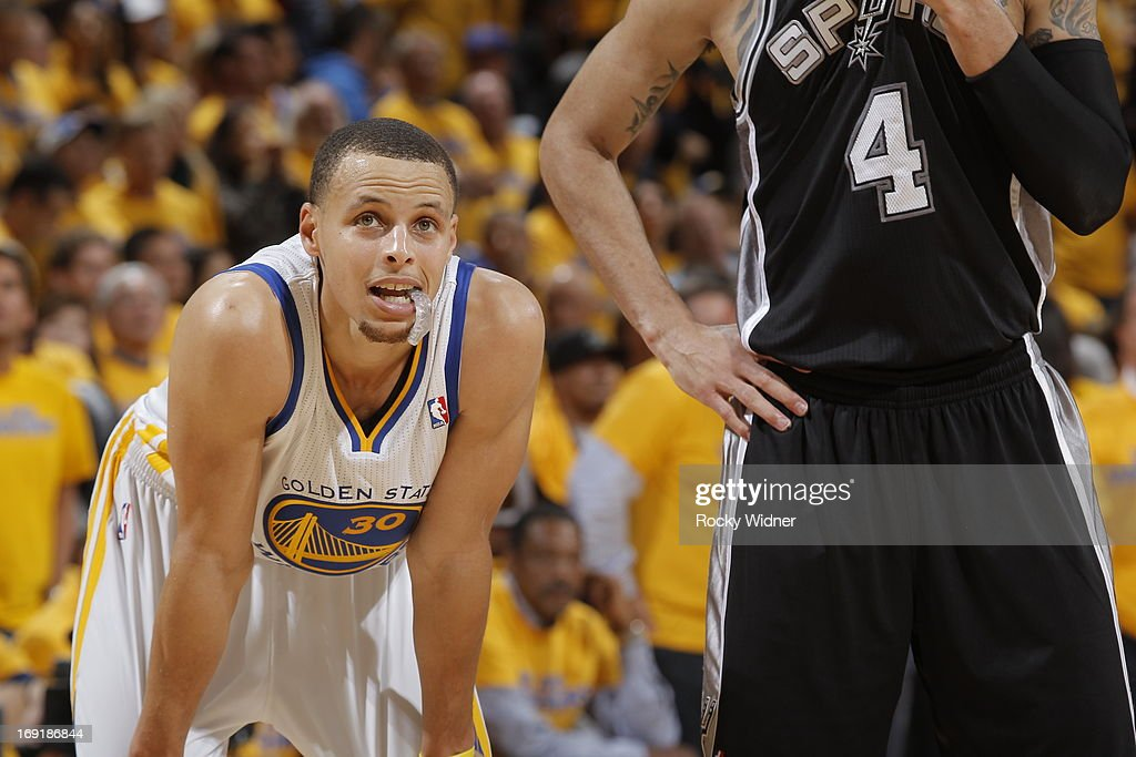 Stephen Curry #30 of the Golden State Warriors looks on against the San Antonio Spurs in Game Six of the Western Conference Semifinals during the 2013 NBA Playoffs on May 16, 2013 at Oracle Arena in Oakland, California.