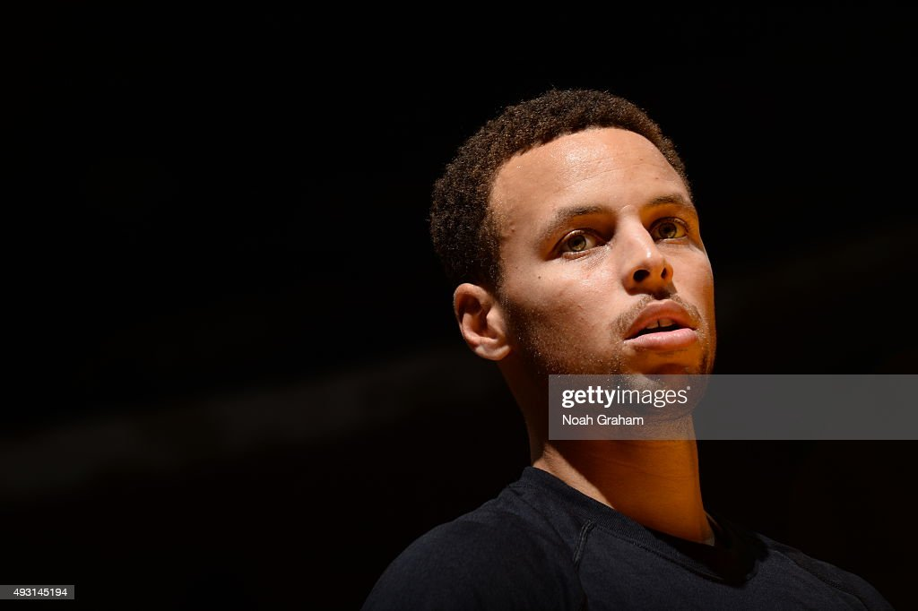 Stephen Curry #30 of the Golden State Warriors looks on before the game against the Los Angeles Lakers during a preseason game on October 17, 2015 at Valley View Casino Center in San Diego, California.