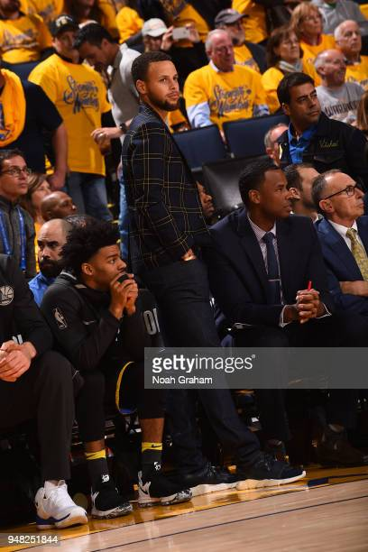 Stephen Curry of the Golden State Warriors looks on during Game Two of Round One of the 2018 NBA Playoffs against the San Antonio Spurs on April 16...