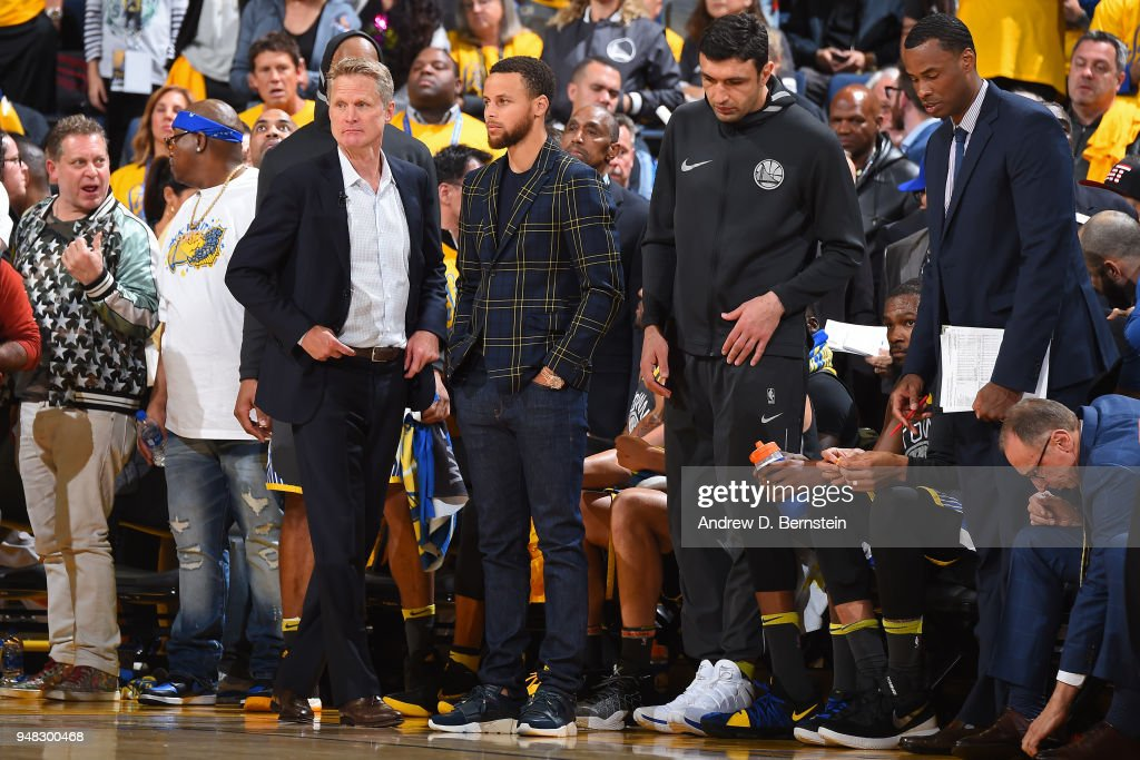Stephen Curry #30 of the Golden State Warriors looks on during Game Two of Round One of the 2018 NBA Playoffs against the San Antonio Spurs on April 16, 2018 at ORACLE Arena in Oakland, California.