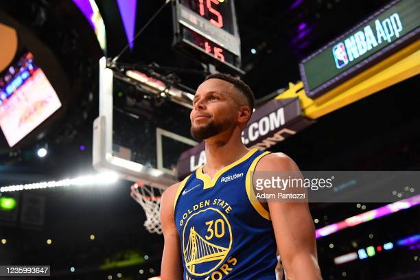 Stephen Curry of the Golden State Warriors looks on during the game against the Los Angeles Lakers on October 19, 2021 at STAPLES Center in Los...