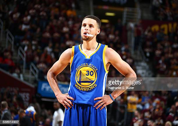 Stephen Curry of the Golden State Warriors looks on during the game against the Cleveland Cavaliers during the 2016 NBA Finals Game Three on June 8...